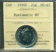 Test Token 1999P Canada 25 cent Certified ICCS MS-65 NBU