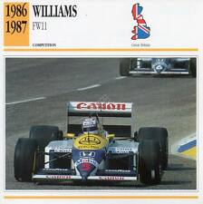 1986-1987 WILLIAMS FW11 Racing Classic Car Photo/Info Maxi Card