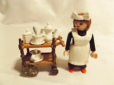 Playmobil Victorian Tea Cart, Maid, Dishes for 5300 Mansion Doll House Furniture