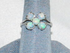 10K White Gold ring with Antique Opals