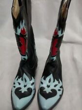 Cool Rock and roll Rancho Loco heart skull leather western  boots size 9
