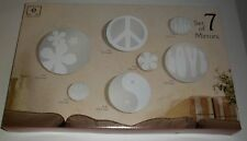 Elements Set of 7 Mirrors Flowers Peace Love Frosted Glass Wall Hanging Mirrors