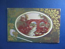 Beautiful Saint Patrick's Embossed Greeting Postcard, Old Weir Bridge Killarney
