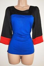 NEXT BLUE SILKY ORANGE BLACK BLOCK FORMAL RARE BLOUSE T SHIRT TOP VEST 8 S