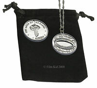 Hobbit Money COIN + NECKLACE SET Silver LOTR Elven Leaf The Lord of The Rings