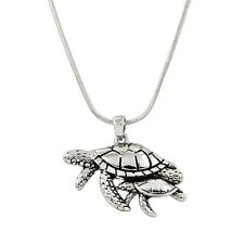 "Sea Turtle Mother & Baby Charm Pendant Fashionable Necklace - 17"" Chain"