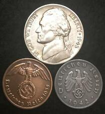 Authentic Nazi Coins 3rd Reich with SWASTIKA and US SILVER War Nickel Lot