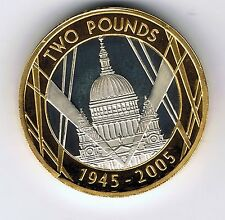 2005 PIEDFORT Silver proof gold plated two pound £2 coin - 24g - End World War 2