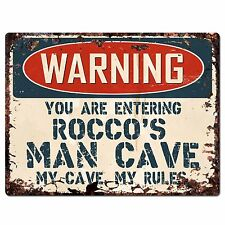 PP3773 WARNING ENTERING ROCCO'S MAN CAVE Chic Sign Home Decor Funny Gift