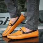 NEW Mens Genuine Leather Casual Slip On Loafer Canvas Moccasins Driving Shoes