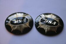 "65-8228  BSA  PAIR  ROUND 4""  TANK  BADGES  BLACK  GOLD (1949-58)"