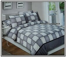 Black White Grey Square Panel * DOUBLE QUILT DOONA COVER +2 PILLOWCASES SET