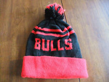 Chicago Bulls Knit NBA Red and Black Cuffed Beanie Hat with Pom