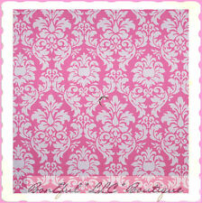 BonEful Fabric FQ Cotton Breast Cancer Damask Toile Pink White Heart Flower Leaf