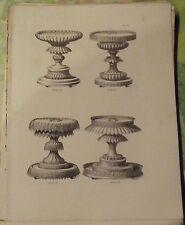 1883 Ancienne Gravure Pâtissiers Confiseurs Grands Socles en Sucre Taillé 315