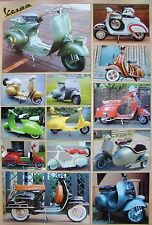 VESPA MOTORBIKE / SCOOTER POSTER FROM ASIA: 13 CLASSIC MOTORSCOOTER MODELS