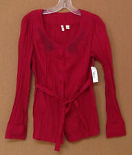 NEW size small St. John's Bay SHIRT blouse red belted S NWT