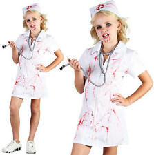 Childrens Kids Mad Nurse Fancy Dress Costume Girls Childs Halloween Outfit L