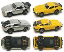 2 1970s RARE Yonezawa Motorama Japan Micro Racing  1/87 DATSUN PORSCHE Slot Cars