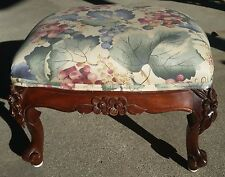 French LOUIS XV Style FLOWER CARVED Cabriole Leg Mahogany FOOTSTOOL 1930's