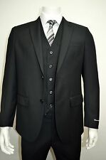 Men's 3pc Black Slim Fit Dress Suit Size 36S NEW Suit