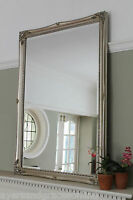 SHABBY CHIC ORNATE MIRROR ANTIQUE STYLE IVORY GOLD SILVER OR WHITE OVERMANTLE