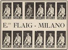 Z1334 GRITZNER - E. Flaig Biciclette marca Milano - Pubblicità d'epoca - 1909 Ad