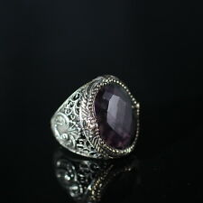 TURKISH HANDMADE AMETHYST STERLING SILVER 925K AND BRONZE MEN'S RING