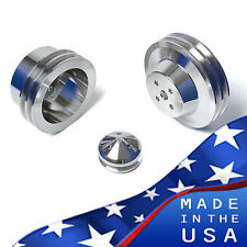 Ford 289 302 Pulleys 3 Bolt V-Belt Kit SBF 5.0 2V Set Billet Aluminum Underdrive