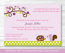 Girl Owl Woodland Forest Friends Printable Baby Shower Invitation Editable PDF