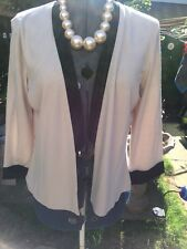 Ronen Chen Qvc  Beige  With Black Trim edge to edge  jacket BNWT 14 ��