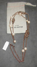 NWT Alexis Bittar Rose Gold Broken Glass Stone Cluster & Pearl Station Necklace