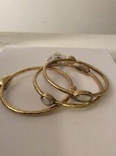 LUCKY BRAND BRACELETS, 3 BANGLES, MOTHER OF PEARL STONES,$49#162
