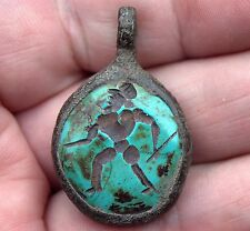 Very Old Hand Carved Intaglio Turquoise Stone Medieval Bronze Soldier Pendant