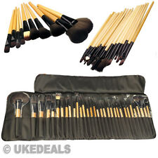 Wooden Soft Bristle Brushes Set + Carry Pouch 32x Professional Cosmetic Make Up