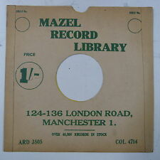 """78rpm 10"""" card gramophone record sleeve / cover MAZELS RADIO MANCHESTER green"""