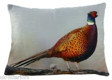 "17""x13"" Pheasant Velvet Chenille Cushion Evans Lichfield Bird British wildlife"