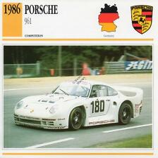 1986 PORSCHE 961 Racing Classic Car Photo/Info Maxi Card