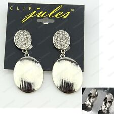 "CLIP ON 2""big RETRO OVAL drop earrings SILVER FASHION rhinestone CRYSTAL CLIPS"