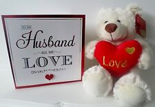 "Valentines Day Gifts For Him Cute Plush Teddy ""Love"" Heart & Lovely Sweet Card"