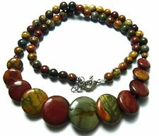 "Natural Multicolor Picasso Jasper Beads Pendant Necklace 18"" AAA"