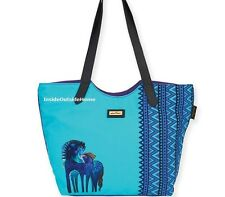 Laurel Burch Indigo Mares Horses Large Scoop Shoulder Tote Bag New 2017