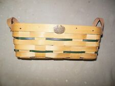 VINTAGE New Old Stock RARE! 2 Handled PETERBORO PICNIC bread BASKET Wood Leather