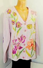 Storybook Knits NWT Pink Knit Floral Embellished Cardigan Sweater Sz L #650