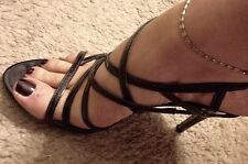 Guess Black Leather Caged Buckle Strappy High Heel Sandal 10