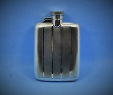 super Art Deco engine turned sterling silver spirit flask pocket size W.N 1929