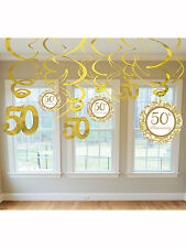 12 x Golden Wedding 50th Anniversary Party Hanging Foil Swirl Decorations