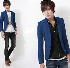 Fashion Men's Casual Slim Fit One Button Blue Suit Blazer Coat Jacket Tops