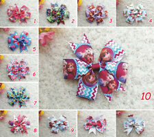 "3.5"" 10 pcs Baby Girl toddlers boutique princess grosgrain ribbon hair bow 10N"