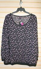 NEW TORRID WOMENS PLUS SIZE 4X 4 BLACK & PINK BARBIE LIP HEART CHIFFON TOP SHIRT
